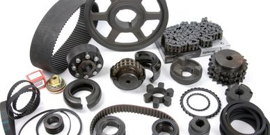 A selection of power transmission products including belts, pulleys, taper lock bushes, couplings and chain