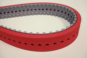 This is a linatex rubber backed vacuum pull down timing belt