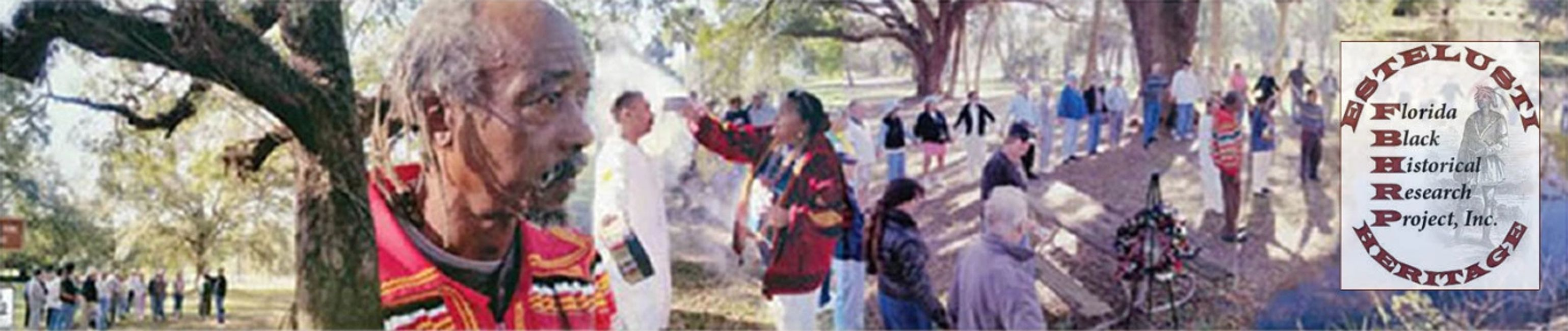 Collage of images from FBHRP depicting outside ceremonies burning herbs with people lined up,
