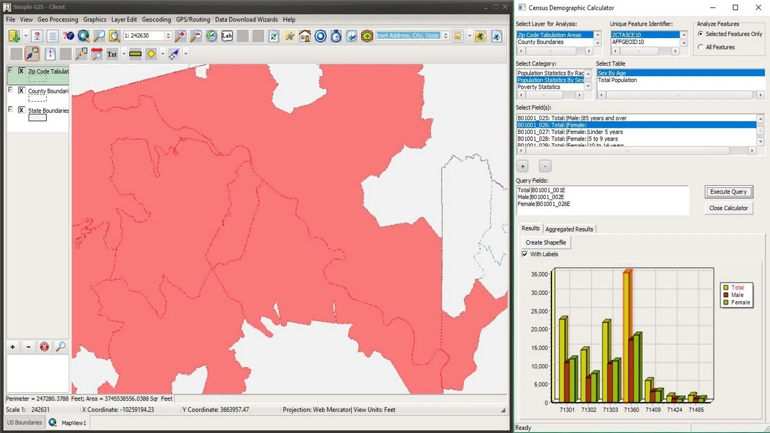 Querying US Census Demographic Data in Simple GIS Client