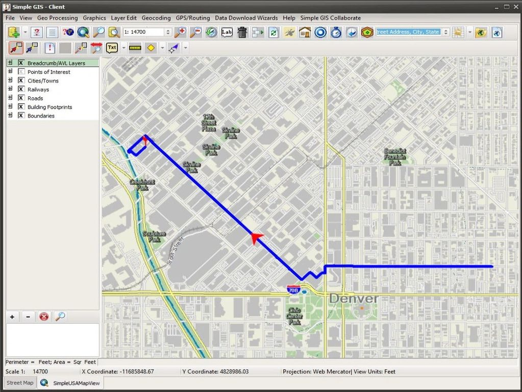 Example of GPS tracking and Routing in Simple GIS Client