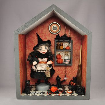Intricately detailed shadow box vignette with polymer clay witch and black cats by Lisa J. Ammerman