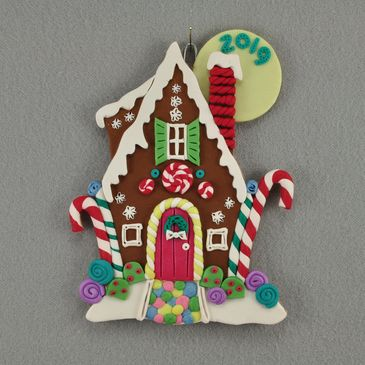 limited edition polymer clay gingerbread house Christmas ornament by Lisa J Ammerman