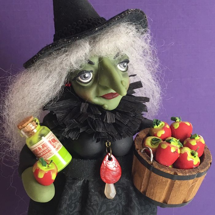 polymer clay wicked witch art doll with poison apples by Lisa J. Ammerman