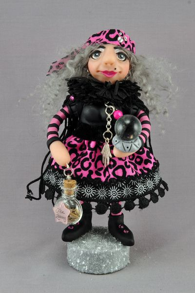 polymer clay gypsy fortune teller art doll