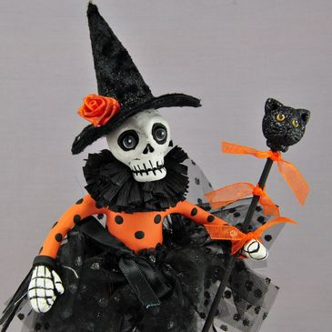 hand sculpted polymer clay Halloween skeleton art doll by Lisa J. Ammerman