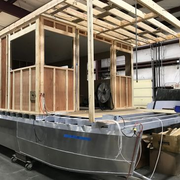 aluminum pontoon hull catamaran Houseboat in production for lake life