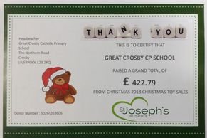Jospice Christmas toy certificate