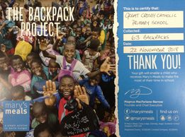 Mary's Meals Backpack Project