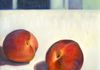 Two Peaches, oil on canvas 16x20 inches