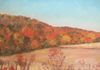 Orchard at Conklin, Autumn, oil on canvas, 15x15 inches