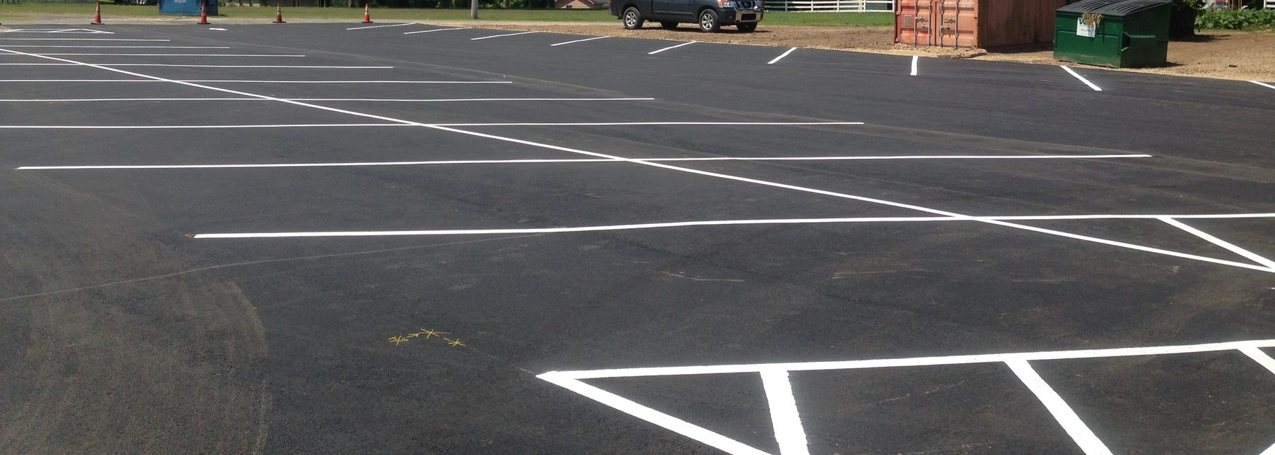 a freshly paved parking lot we installed