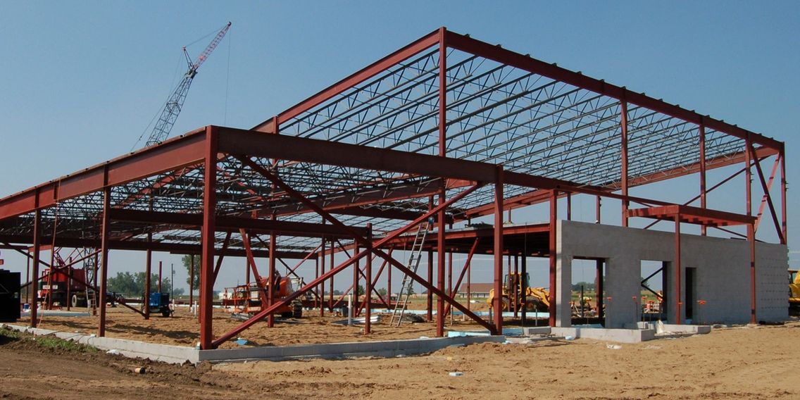 Structural steel skeleton of a building.