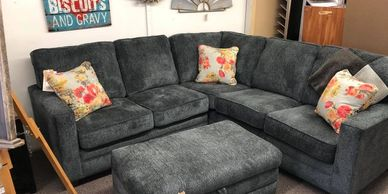 Bestcraft Home Furnishings beautiful new corner sectional with 2019 color of the year Coral pillows!