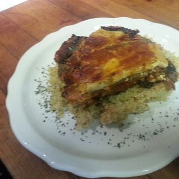 Mousaka on a bed of quinoa