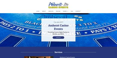 Casino Night event planner website designed by Ace of Spades Design.