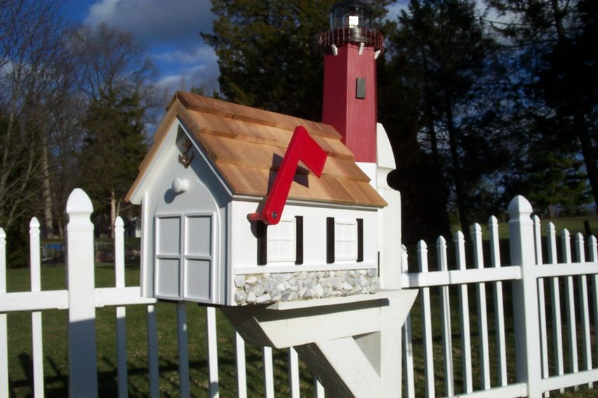 We build lighthouse mailboxes with solar lights that shine at night.