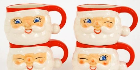 Retro Santa Egg Nog Mugs