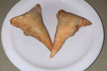 spiced ground beef and lentils in a crispy pastry wrapper or Vegetarian - lentils