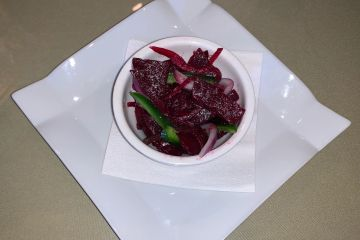 Fresh beets with jalapeno, onion, garlic, squeezed lemon juice and olive oil