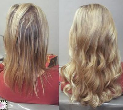 Before and after damage free hair extensions: