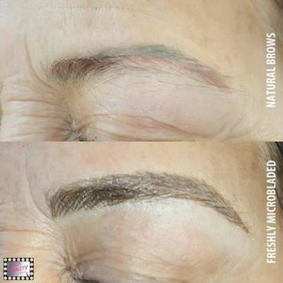 Before and after Microblading, permanent eyebrow in Pittsburgh Pa