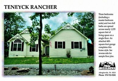 Teneyck Rancher Twin Twins Builder Builders New Home Homes Construction Poconos Pocono Mountains