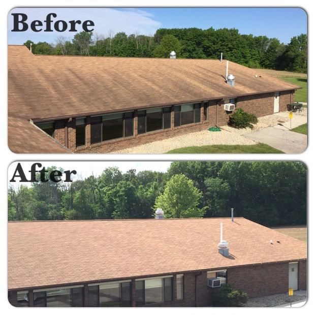 Commercial roof cleaning, soft wash, pressure wash