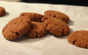 Gingerbread cookies made with coconut flour and coconut sugar.