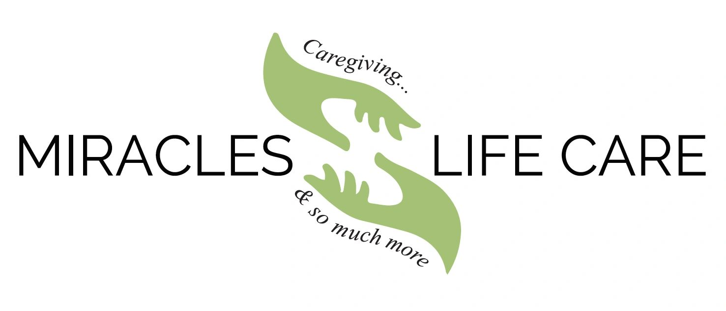 Caregiving and So Much More  2 hands reaching for eachother to help one another. Company Logo.