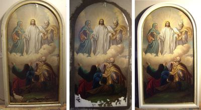 heavily damaged painting before, during, and after restoration