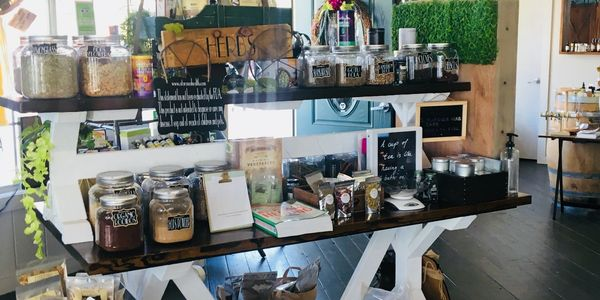 Custom Herb bar inside ataraxia Old Town Spring. Create your own custom tea blends.