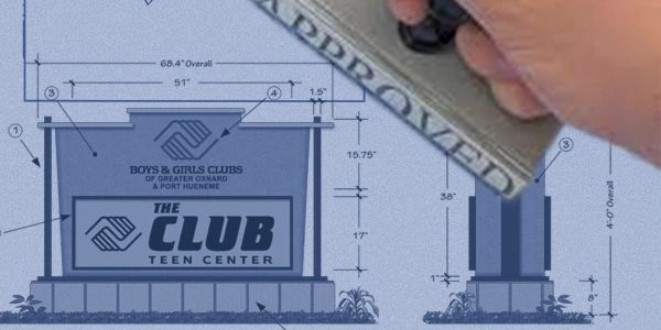 Sign design blueprint drawing of monument sign or small business sign with custom sign logo design.