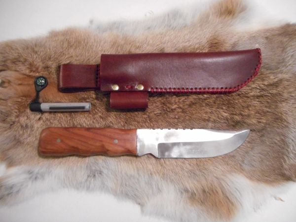 U.S. Made Hand Crafted Hunting Knife with Leather Sheath & Fire Starter