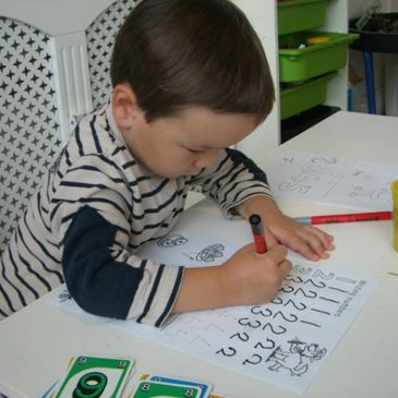Developing penmanship and learning numbers