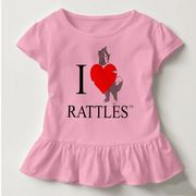 "The design on this toddler t-shirt is inspired by the book series, ""Rattles, the Barn Cat."""