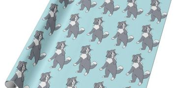 "This ""Rattles Wrapping Paper"" design is inspired by the book series, ""Rattles, the Barn Cat."""