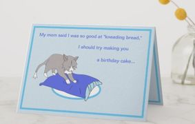 "This Rattles birthday card design is inspired by the book series, ""Rattles, the Barn Cat."""