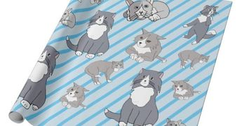 "This Rattles Wrapping Paper design is inspired by the book series, ""Rattles, the Barn Cat."""