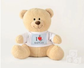 "This ""I Love Rattles Teddy Bear"" design is inspired by the book series, ""Rattles, the Barn Cat."""