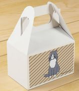 "This ""Rattles Favor Box"" design is inspired by the book series, ""Rattles, the Barn Cat."""