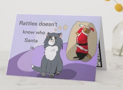 "This Rattles kids' birthday card design is inspired by the book series, ""Rattles, the Barn Cat."""