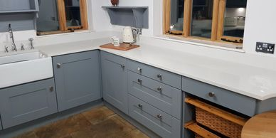 Spray painting kitchens, hand painting kitchens, kitchen transformation, furniture painting Cheshire