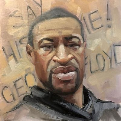 black lives matter, painting. artists for justice. George Floyd.