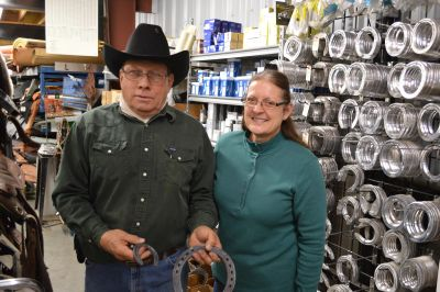 John and Joanne Metz, JM4 Ranch owners; Harness, Tack, & Farrier Supplies.