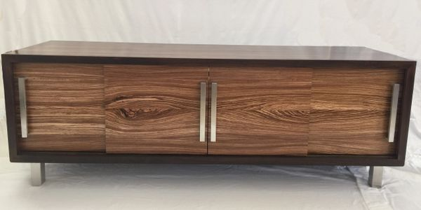 Media console walnut and zebra wood