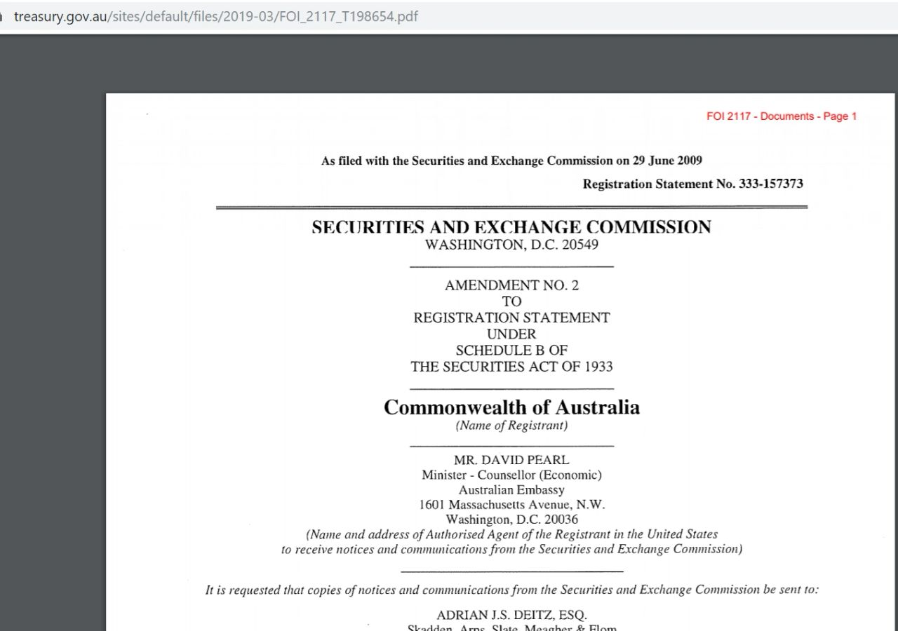 109 Page Documents filed on 3/2019 with Treasury.gov.au
