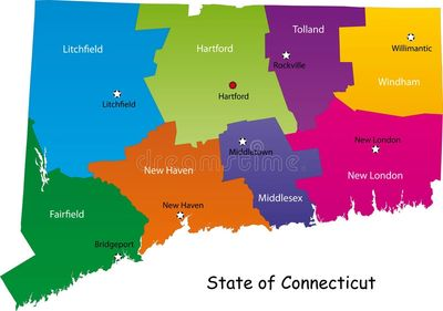 Map of Connecticut counties for mole extermination service area