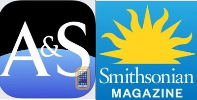 The logos for the Air and Space magazine and the Smithsonian magazines side by side.