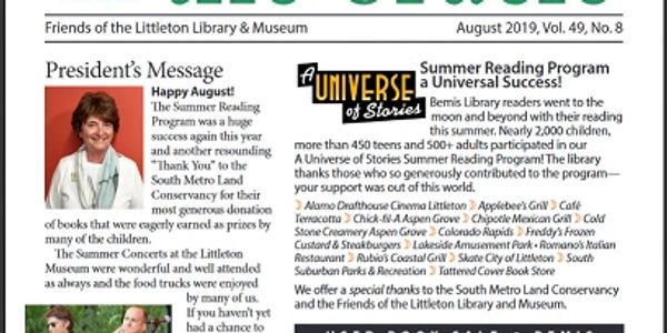 A screen shot of the front page of the August 2019 Oracle of the Friends of the Library and Museum in Littleton.
